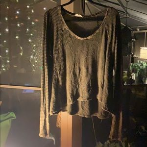 Abree Brown Thermal Waffle Knit ScoopNeck Top NWOT